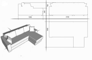 пране на мека мебел - ъглов диван с лежанка